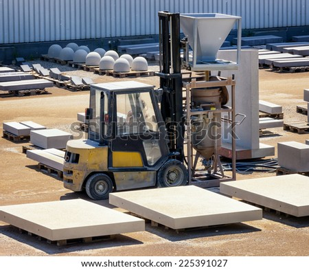 factory site of a stone fabric - stock photo