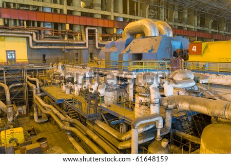 factory with equipment to produce fuel energy - stock photo