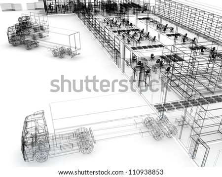 Factory with offices, warehouse and shipping service. Computer generated visualization in sketchy style. - stock photo
