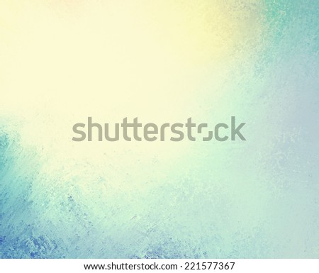 faded vintage background, blue and yellow colors and old grunge texture - stock photo