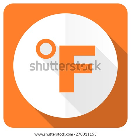 fahrenheit orange flat icon temperature unit sign  - stock photo