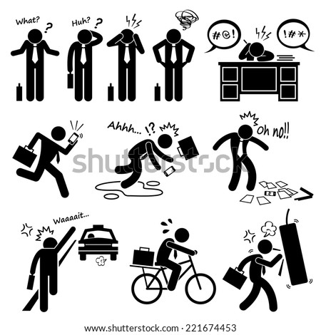 Fail Businessman Emotion Feeling Action Stick Figure Pictogram Icons - stock photo