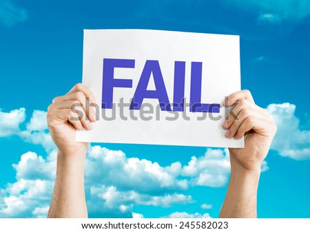 Fail card with sky background - stock photo