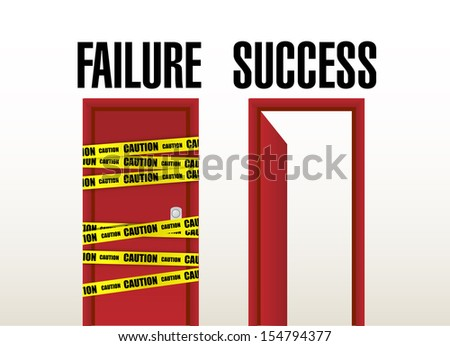 failure and success doors. illustration design over white - stock photo