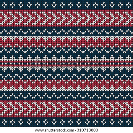Fair Pattern sweater design on the wool knitted texture. Red-blue Knitting Ornament - stock photo