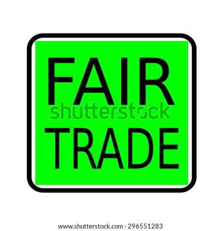 Fair Trade black stamp text on green background - stock photo
