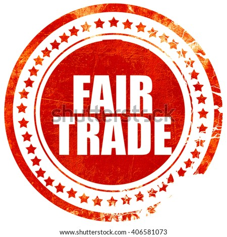 fair trade, grunge red rubber stamp with rough lines and edges - stock photo
