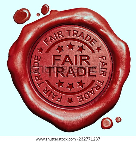 fair trade product label red wax seal stamp  - stock photo