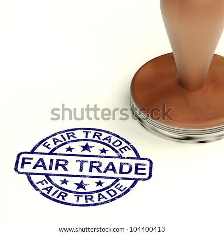 Fair Trade Stamp Shows Ethical Produce - stock photo