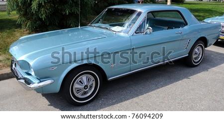 FAIRBANKS, AK - JUNE 19: 1966 Ford Mustang, 2010 Alaska Midnight Sun Cruise-In Auto Show June 19, 2010 in Fairbanks, Alaska - stock photo