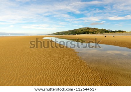 Fairbourne Beach looking north towards Barmouth in Gwynedd Wales. - stock photo