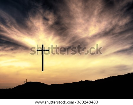 Fairly traditional Christian Easter background, one cross has risen.  - stock photo