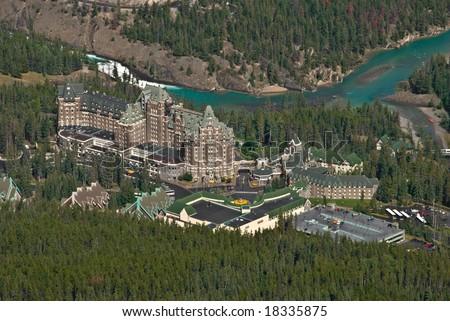 Fairmont Banff Springs Hotel as seen from Sulphur mountain - stock photo
