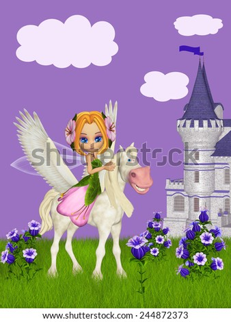 Fairy and pegasus - stock photo