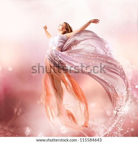 Fairy. Beautiful Girl in Blowing Dress Flying. Magic - stock photo