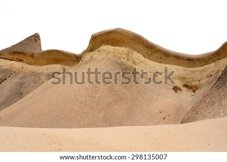 Fairy Chimneys in Cappadocia Nevsehir Turkey isolated on white - stock photo