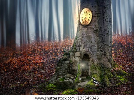 Fairy cottage in the forest with a magical clock and birds,fantasy picture - stock photo