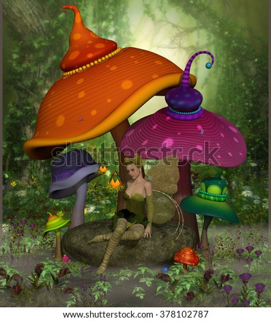 Fairy Daina - Fairy Daina relaxes on a rock surrounded by colorful fantasy mushrooms and flowers in the magical forest. - stock photo