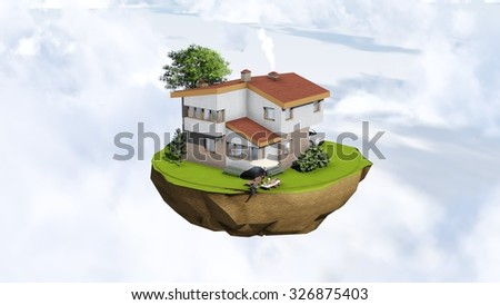 Fairy flying in the clouds island with modern house, car, threes and relaxing people. - stock photo