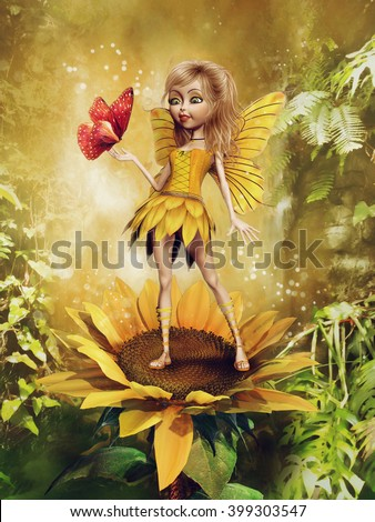 Fairy girl in a yellow dress standing on a sunflower, with a butterfly and green fern. 3D illustration. - stock photo