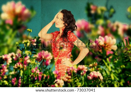 fairy image with beauty young woman in the flowers on the meadow - stock photo