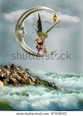Fairy in the moon with fantasy landscape - stock photo
