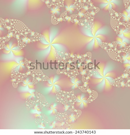 Fairy Lights / A digital abstract fractal image with a fairy light design in blue, yellow and pink. - stock photo