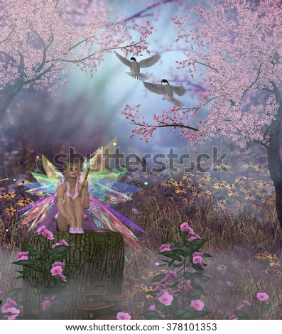 Fairy Patricia - Fairy Patricia plays the flute for two Black-capped Chickadees in the magical forest. - stock photo