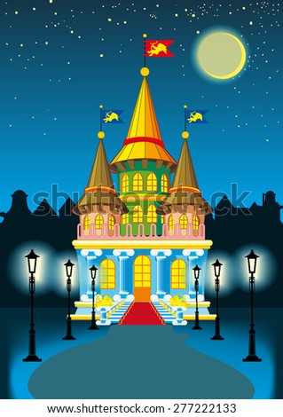 fairy princess castle at night in the moonlight and lanterns - stock photo
