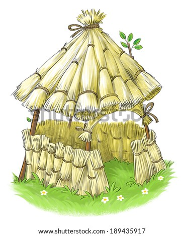 Fairy straw house from Three Little Pigs fairy tale - stock photo