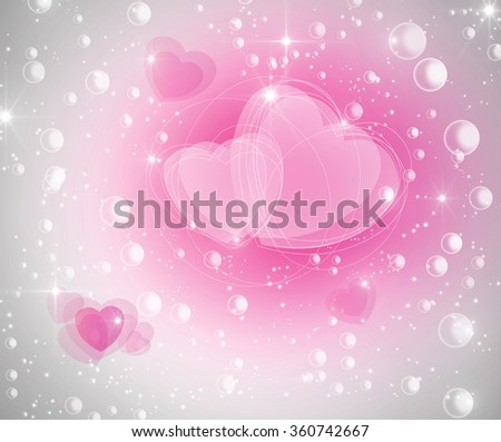 Fairy tale abstract beautiful background with air bubbles and star dust. Pixie dust magic Valentines Day  concept with hearts and pink bright detail. Romantic and special princess theme. - stock photo