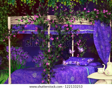 fairy tale bed - stock photo