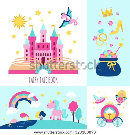 Fairy tale book concept with magic fantasy cartoon characters icons set isolated  illustration - stock photo