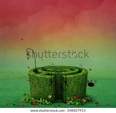 Fairy tale illustration with   Fairy maze with locked entrance  - stock photo