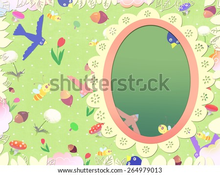Fairy tale magic mirror. Kids book picture. Postcard drawn in the childish style. Digital background raster illustration. - stock photo