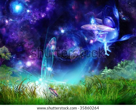 Fairy-tale picture - an elf on an insect flies away from a glade - stock photo