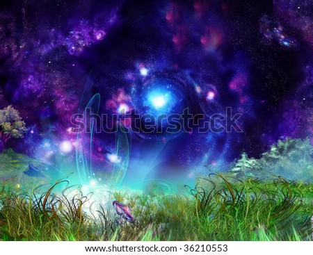 Fairy-tale wonderful background, picture of the nightly misterios lighted up glade - stock photo
