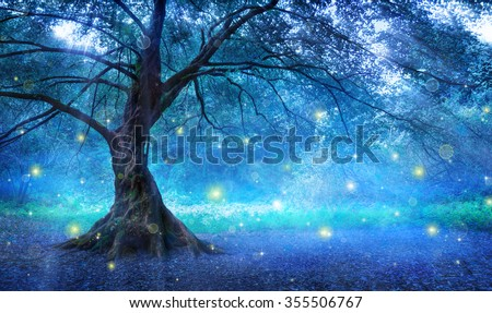 Fairy Tree In Mystic Forest  - stock photo