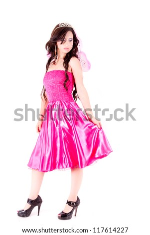 fairy woman with butterfly wings - stock photo