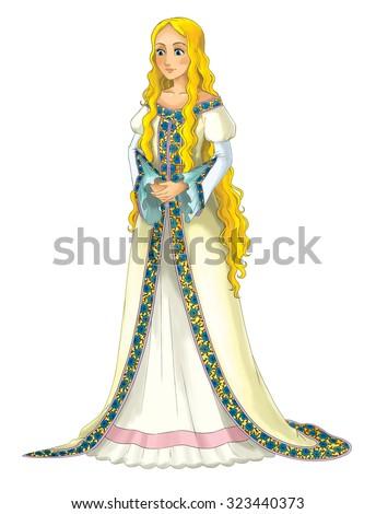 Fairytale cartoon character - princess - illustration for the children - stock photo
