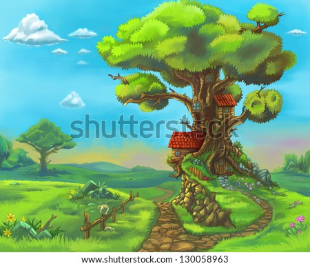 Fairytale forrest wood children story illustration. Big tree with many branches, blue sky, sunny weather, sprig, summer season. Nature landscape. - stock photo