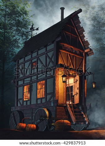 Fairytale house on wheels in the forest at night. 3D illustration. - stock photo