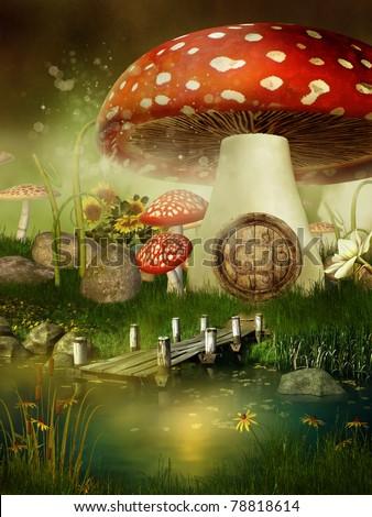 Fairytale mushroom house by the lake - stock photo