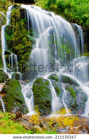 fairytale waterfall in the black wood Germany - stock photo