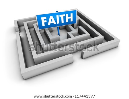 Faith concept with labyrinth and blue goal sign on white background. - stock photo