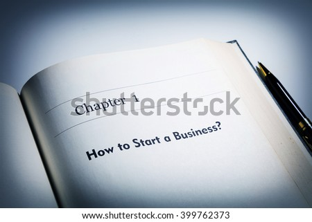 fake book. chapter one, How to start a business? - stock photo