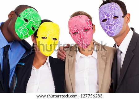 fake business teamwork concept group of business people with mask - stock photo