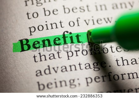 Fake Dictionary, definition of the word Benefit. - stock photo
