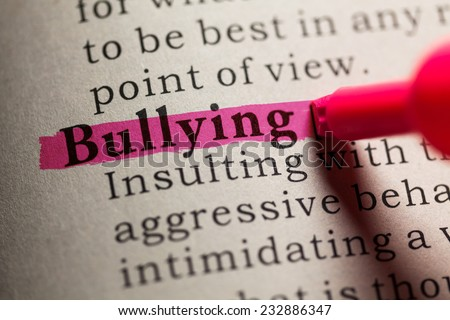 Fake Dictionary, definition of the word bullying. - stock photo