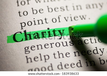 Fake Dictionary, definition of the word Charity. - stock photo